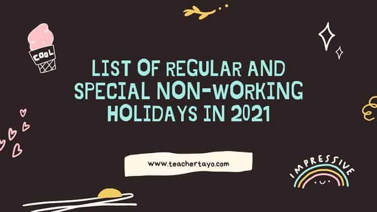 regular and special non-working holidays in 2021